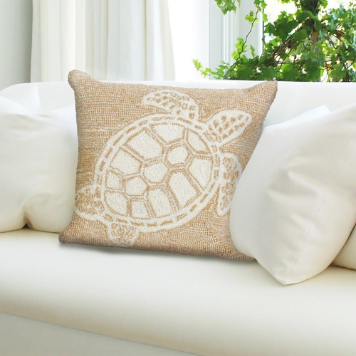Frontporch Neutral Sea Turtle Indoor/Outdoor Throw Pillow - Lifestyle 1