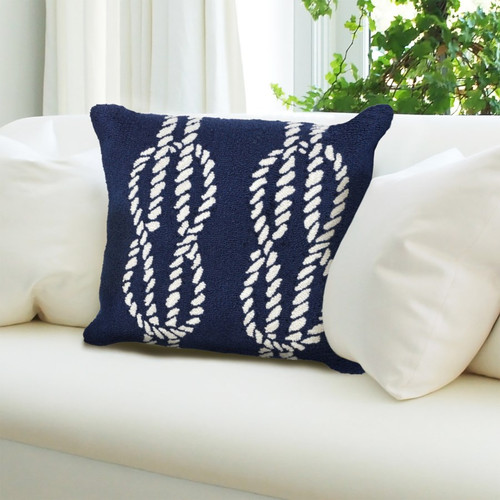Frontporch Navy Nautical Ropes Indoor/Outdoor Throw Pillow - Lifestyle 2
