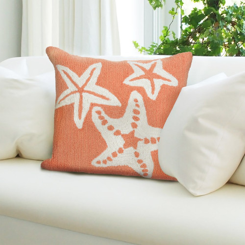 Frontporch Coral Starfish Trio Indoor/Outdoor Throw Pillow - Lifestyle 1