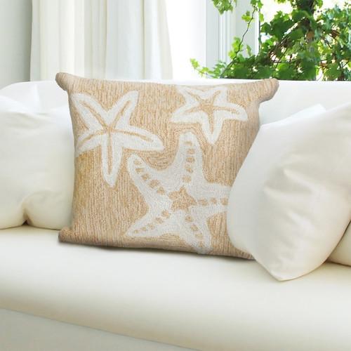 Frontporch Neutral Starfish Trio Indoor/Outdoor Throw Pillow - Lifestyle 1