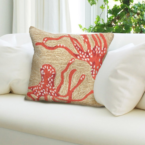 Frontporch Neutral and Coral Octopus Indoor/Outdoor Throw Pillow - Lifestyle 1