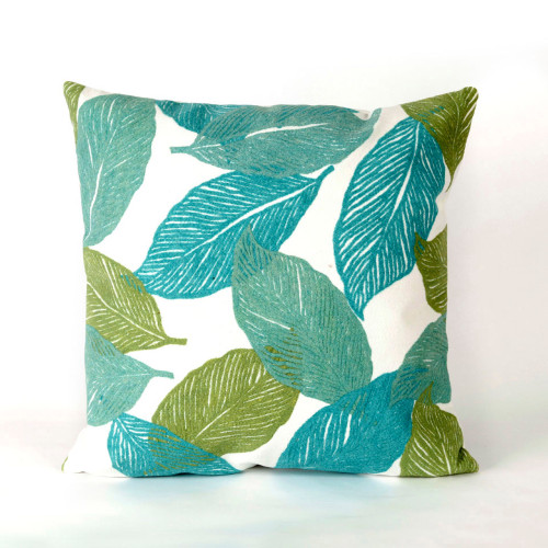 Visions Aqua Mystic Leaf Indoor/Outdoor Throw Pillow -  Square