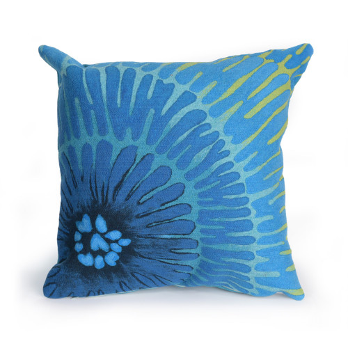 Visions Blue Cirque Caribe Indoor/Outdoor Throw Pillow  - Square