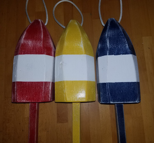 "Wooden Lobster Buoy - 21"" - White Band Collection"