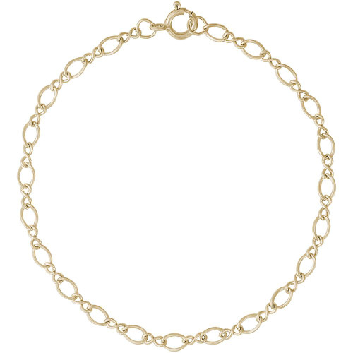 "Medium Figure Eight Charm Bracelet - 7"" or 8"" - Gold Plate, 10k Gold, or 14k Gold"