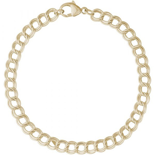 "Petite Double Link Charm Bracelet - 7"" or 8"" - Gold Plate, 10k Gold, or 14k Gold"