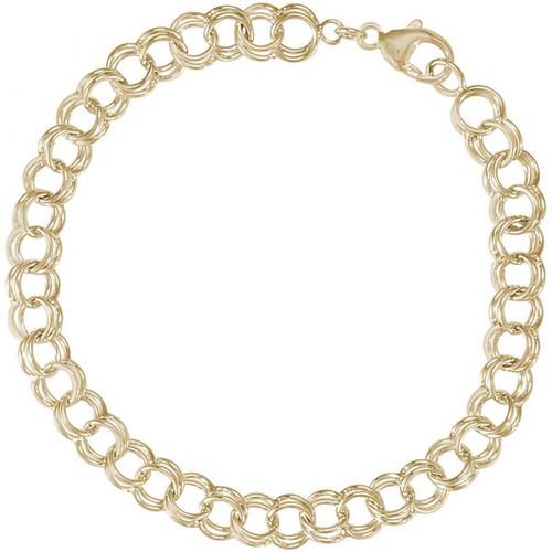 "Double Link Charm Bracelet - 7"" or 8"" - Gold Plate, 10k Gold, or 14k Gold"