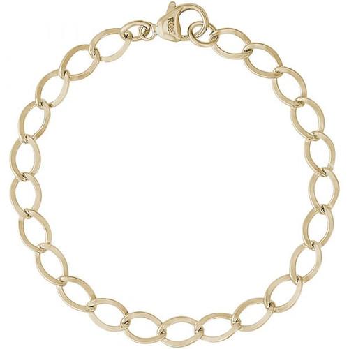 """Curb Link Charm Bracelet - 7"""" or 8"""" - Gold Plate, 10k Gold, or 14k Gold"""