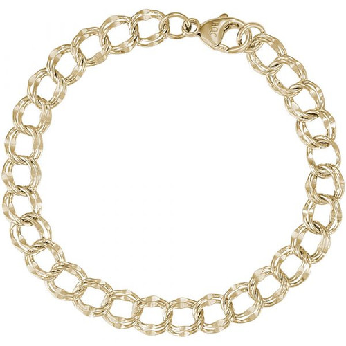 "Large Double Link Charm Bracelet - 7"" or 8"" - Gold Plate, 10k Gold, or 14k Gold"