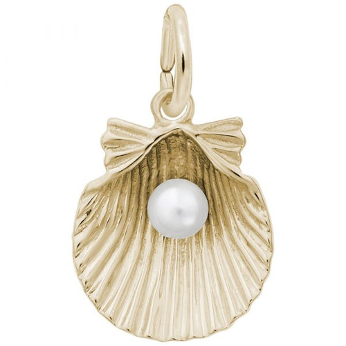 Shell with Pearl Charm - Gold Plate, 10k Gold, 14k Gold