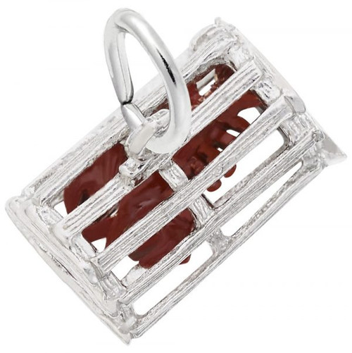 Lobster Trap with Lobster Charm - Sterling Silver and 14k White Gold