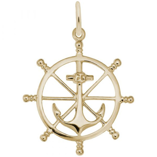 Anchor and Ship Wheel Charm - Gold Plate, 10k Gold, 14k Gold