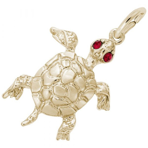 Turtle Charm with Red Stone Accent  - Gold Plate, 10k Gold, 14k Gold