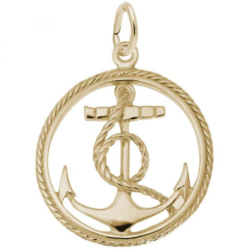 Ships Anchor in Rope Circle Charm - Gold Plate, 10k Gold, 14k Gold