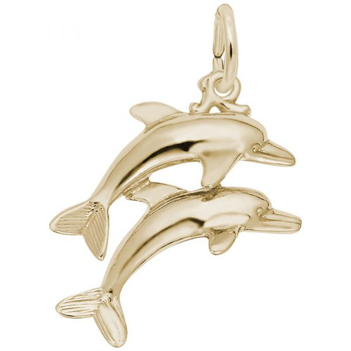 Dolphin Duo Charm - Gold Plate, 10k Gold, 14k Gold