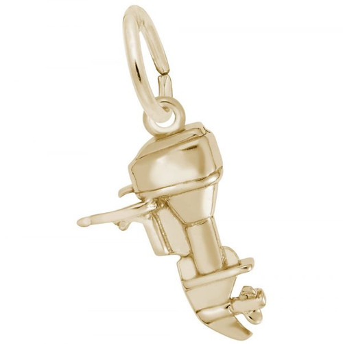 Outboard Boat Motor Charm - Gold Plate, 10k Gold, 14k Gold