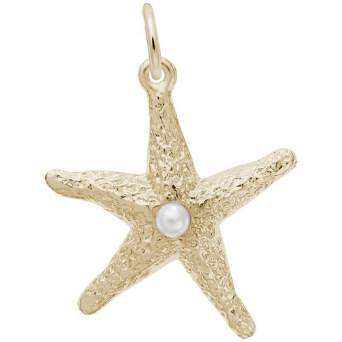 Starfish with Pearl Charm - Gold Plate, 10k Gold, 14k Gold