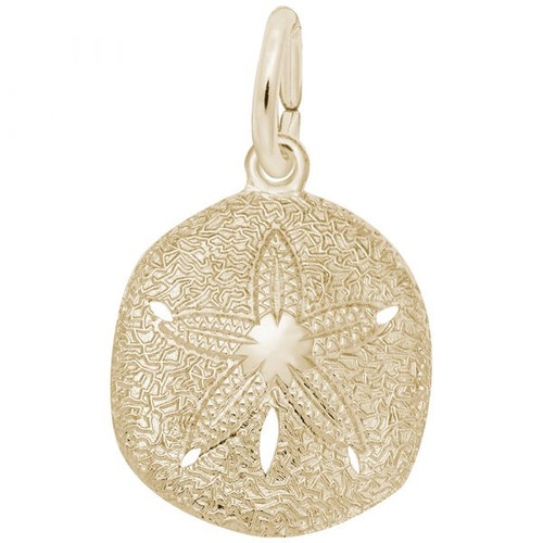 Keyhole Sand Dollar Charm - Gold Plate, 10k Gold, 14k Gold