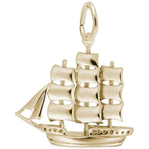 Full-Rigged Ship Charm - Gold Plate, 10k Gold, 14k Gold