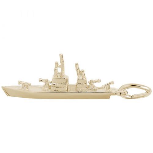 Naval Ship Charm - Gold Plate, 10k Gold, 14k Gold