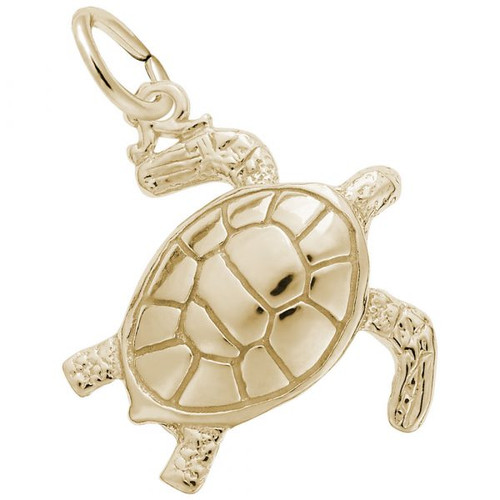 Sea Turtle Charm - Gold Plate, 10k Gold, 14k Gold