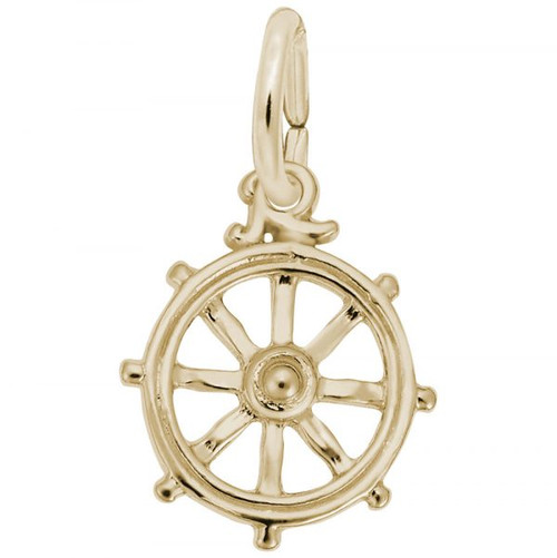 Ship Wheel Charm - Gold Plate, 10k Gold, 14k Gold