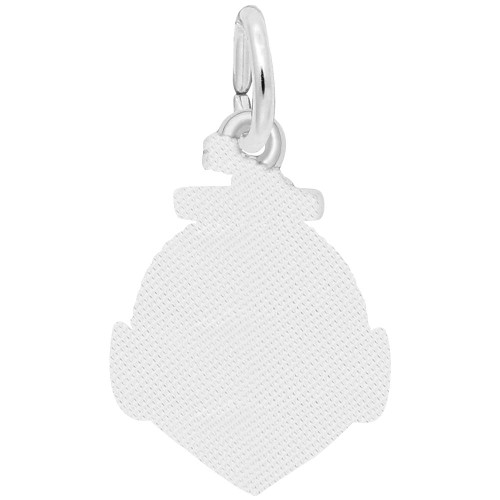 Rope Circle with Anchor Charm - Engraveable Backside - Sterling Silver and 14k White Gold