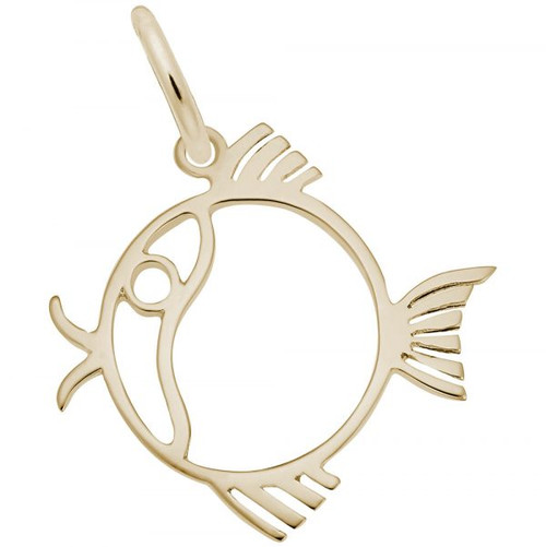Flat Round Fish Charm - Gold Plate, 10k Gold, 14k Gold