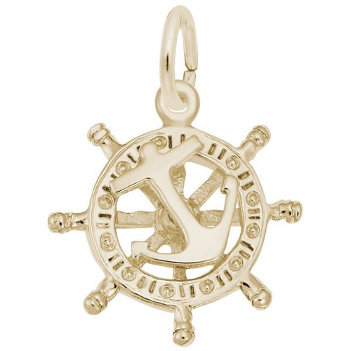 Anchor and Ships Wheel Charm - Gold Plate, 10k Gold, 14k Gold