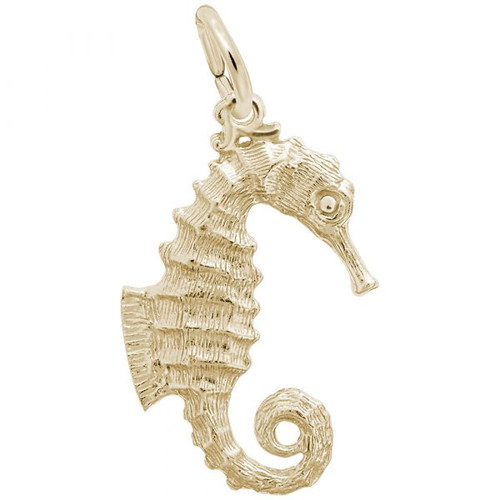Curly Tail Seahorse Charm - Gold Plate, 10k Gold, 14k Gold