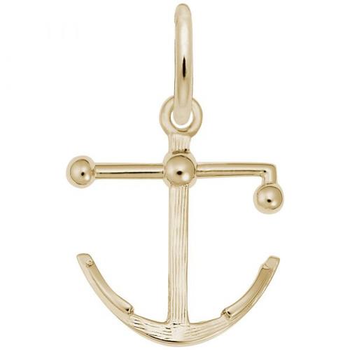 Kedge Anchor  Charm - Gold Plate, 10k Gold, 14k Gold
