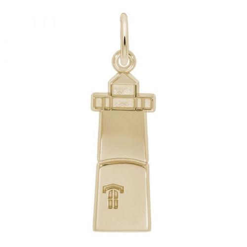 Lighthouse Charm - Gold Plate, 10k Gold, 14k Gold - Optional Engraving