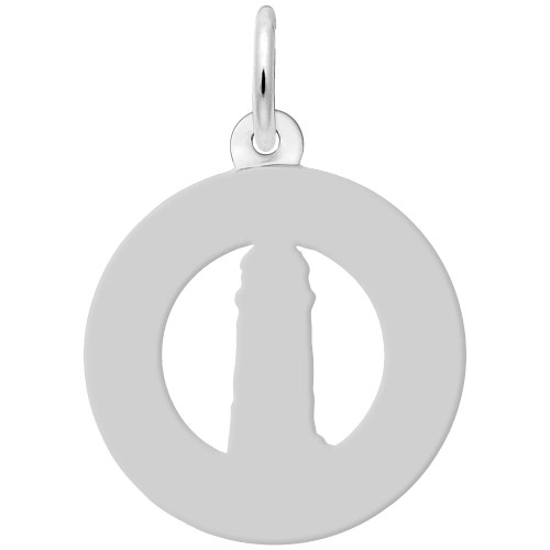 """Outer Banks"" Lighthouse Charm - Engraveable Back - Sterling Silver and 14k White Gold - Optional Engraving"
