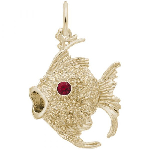 Angelfish Charm with Red Stone Accent - Gold Plate, 10k Gold, 14k Gold