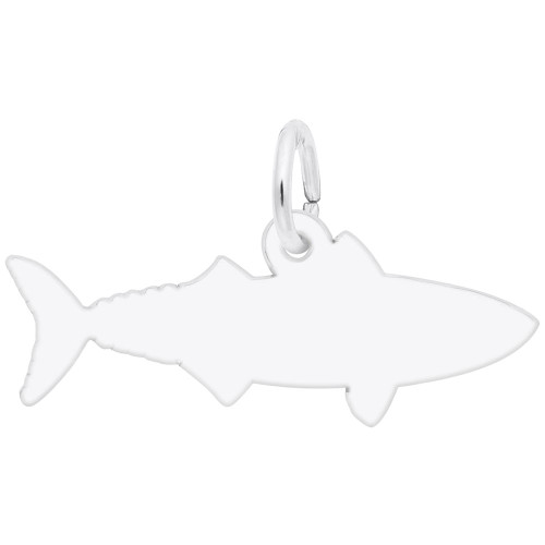 Mackerel Fish Charm - Engraveable Backside - Sterling Silver and 14k White Gold