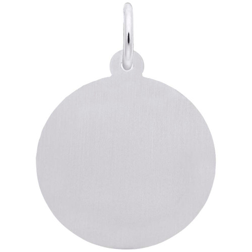 Medium Diamond Faceted Disc Charm - Engraveable Back - Sterling Silver and 14k White Gold - Optional Engraving