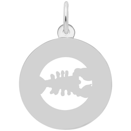 Boston Lobster Ring Charm - Engraveable Backside - Sterling Silver and 14k White Gold
