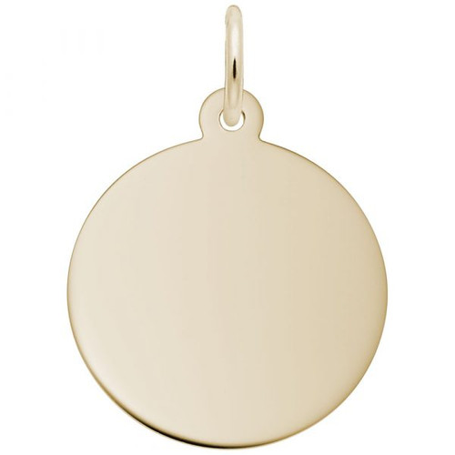 Medium Round Disc Charm - Classic Series - Gold Plate, 10k Gold, 14k Gold - Optional Engraving