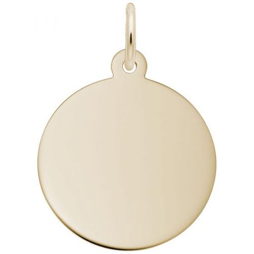 Medium Round Disc Charm - 35 Series - Gold Plate, 10k Gold, 14k Gold - Optional Engraving