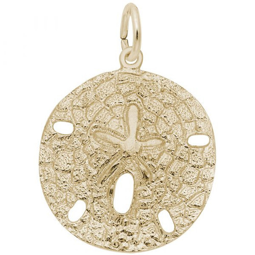 Large Sand Dollar Charm - Gold Plate, 10k Gold, 14k Gold