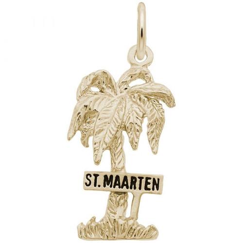 """""""St. Maarten"""" Palm Tree Charm - Gold Plate, 10k Gold, 14k Gold"""