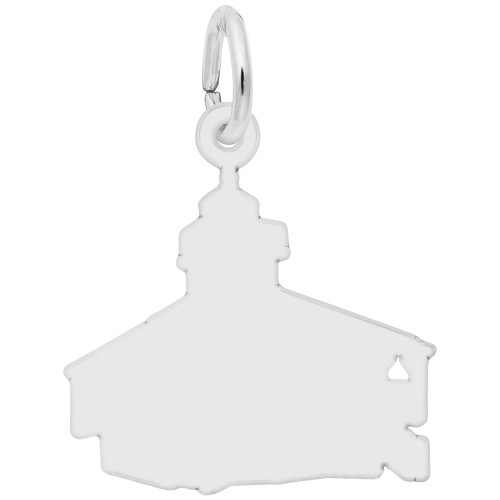 Bocagrand, FL Lighthouse Charm - Engraveable Backside - Sterling Silver and 14k White Gold - Optional Engraving