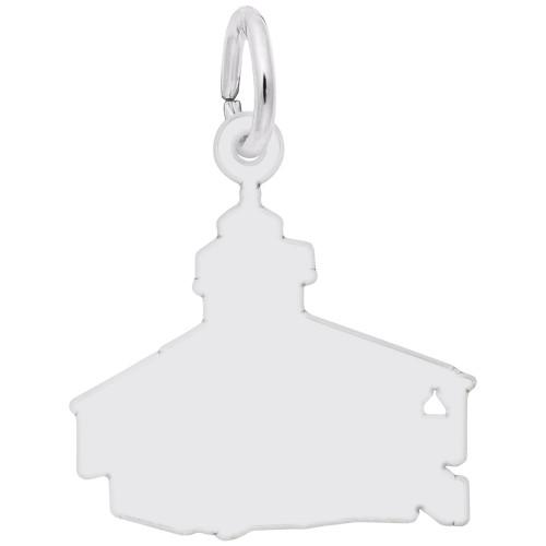 Bocagrand, FL Lighthouse Charm - Engraveable Backside - Sterling Silver and 14k White Gold - Optional Engraving