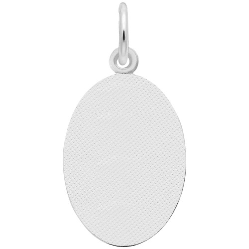 Fisherman Oval Disc Charm - Engraveable Backside - Sterling Silver and 14k White Gold