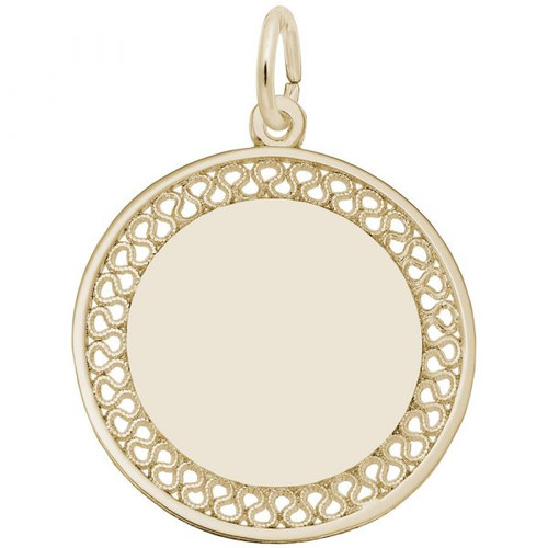 Medium Filigree Disc Charm - Identical Front and Back - Gold Plate, 10k Gold, 14k Gold - Optional Engraving