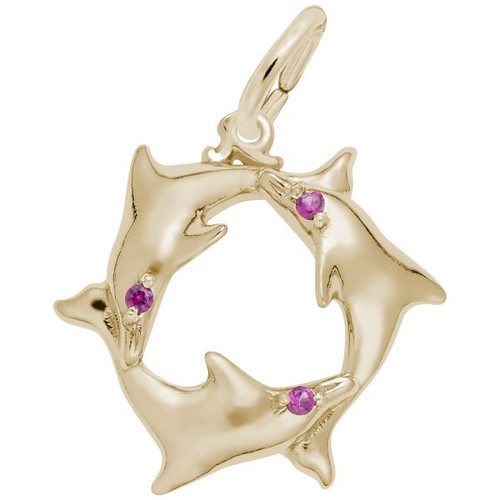 Dolphin Ring with Pink Stone Accent - Gold Plate, 10k Gold, 14k Gold