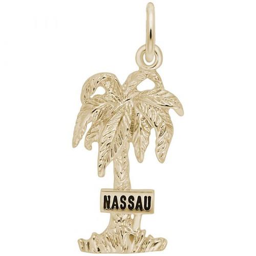 """Nassau"" Palm Tree Charm - Gold Plate, 10k Gold, 14k Gold"