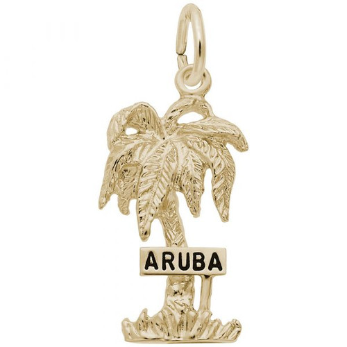 """Aruba"" Palm Tree Charm - Gold Plate, 10k Gold, 14k Gold"