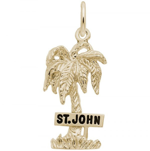"""St. John"" Palm Tree Charm - Gold Plate, 10k Gold, 14k Gold"
