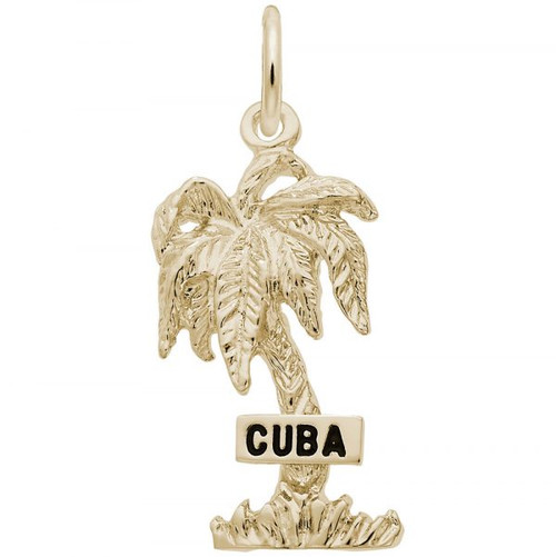 """Cuba"" Palm Tree Charm - Gold Plate, 10k Gold, 14k Gold"